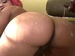 Yummy ebony chubby woman making sweaty sex
