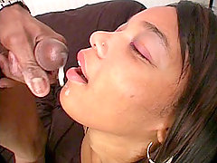Black babe thirsty for cum lets a black hunk penetrate her sex holes