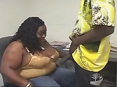 Appetizing ebony big lady goes naughty